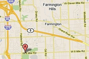 Map to OHCC Farmington Hills church location